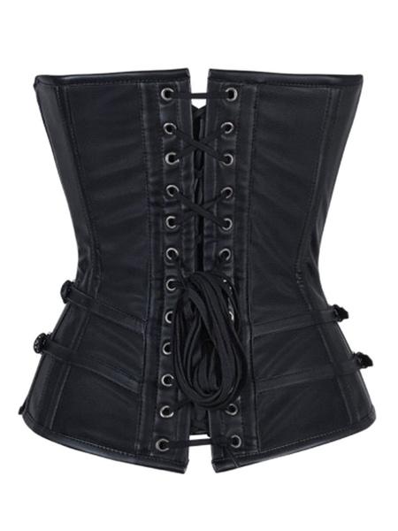 Retro Steampunk Costume Metallic Chain Buckle Black Vintage Corselet For Women