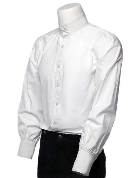 Retro Steampunk Shirts Men's White Long Sleeve Stand Collar Vintage Dress Shirts Halloween