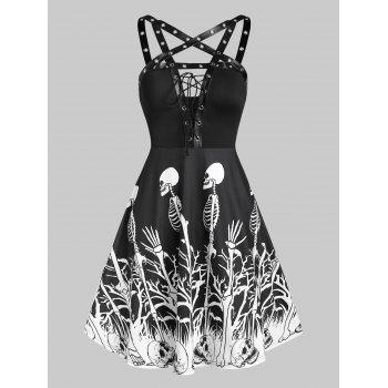Skeleton Print Lace Up Gothic Mini Cami Dress