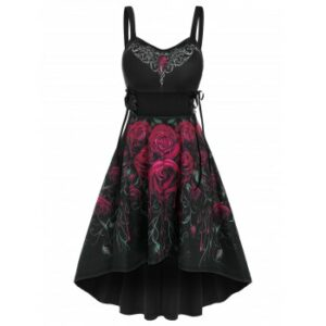 Sleeveless Flower Print Lace-up High Low Gothic Dress