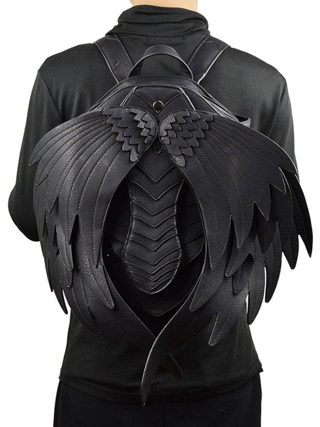 Steampunk Backpack Devil Wings Rock Gothic Halloween Black Shoulder Bags