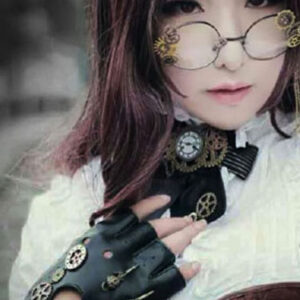 Steampunk Black Gloves Vintage Unisex Gears PU Fingerless Gloves Halloween