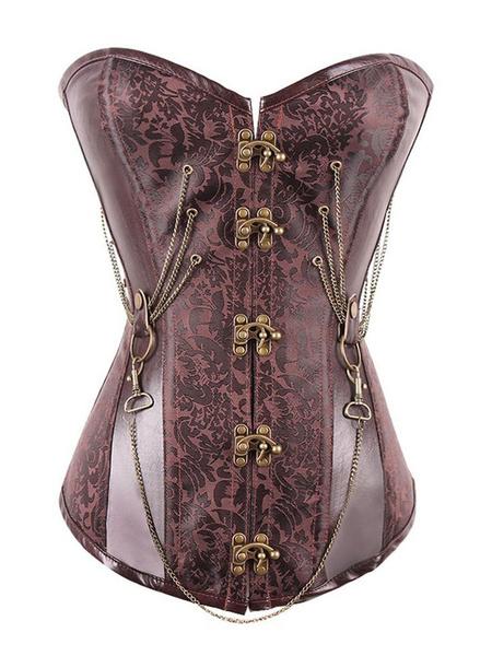 Steampunk Corset Halloween Costume Chains Metallic Gothic Women Brown Jacquard Cincher Top
