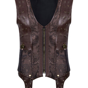 Steampunk Corset Men Faux Leather Vest Top Halloween