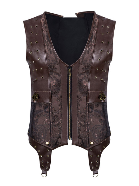 Steampunk Corset Men Faux Leather Vest Top Halloween