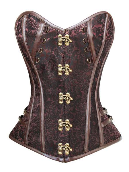 Steampunk Costume Halloween Women Corset Buttons Jacquard Top