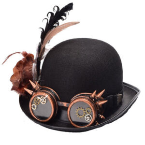 Steampunk Goggle Hat Halloween Costume Black Feather Gear Rivet Accessories