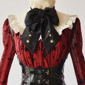 Steampunk Gothic Black Lolita Corset Metallic Buckle PU Lolita Bustier Dreaa