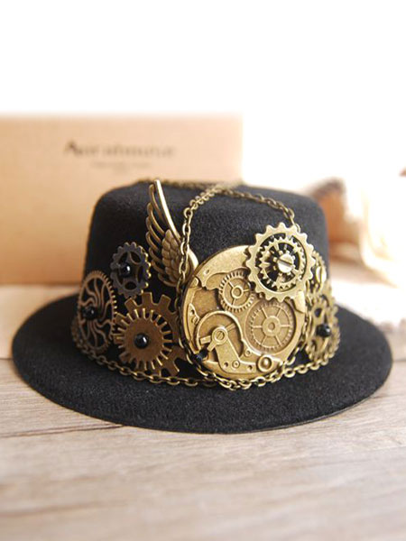 Steampunk Hairpin Black Halloween Vintage Costume Gear Chains Men's Costume Accessories Halloween