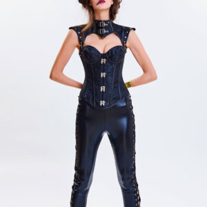 Steampunk Halloween Costume Corset Women Strapless Cincher Top Jacquard Waist Trainer