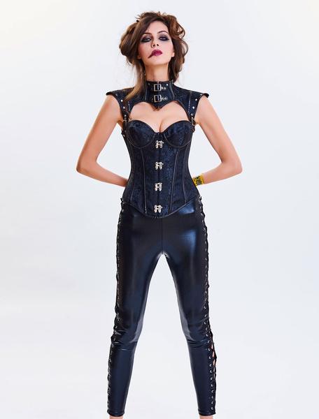 Steampunk Halloween Costume Corset Women Strapless Cincher Top Jacquard Waist Trainer