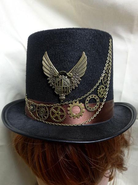 Steampunk Halloween Costume Top Hat Black Gear Metal Wings Accessory