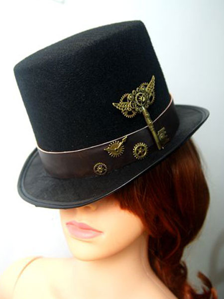 Steampunk Halloween Costume Women Hat Black Gear Metal Wings Top Hat Accessory