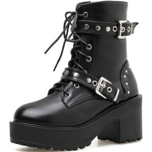 Steampunk Lolita Boots Black Round Toe PU Leather Lolita Footwear