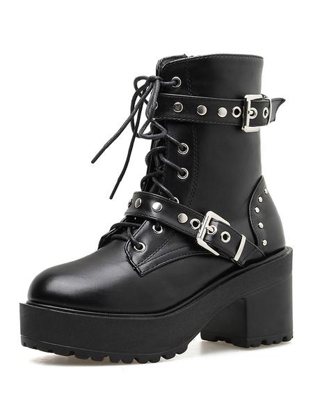 Steampunk Lolita Boots Black Round Toe PU Leather Lolita Footwear