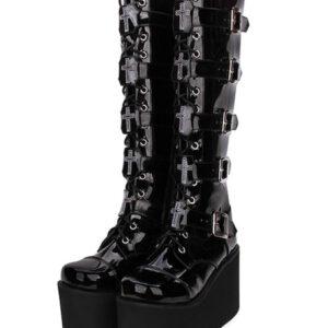 Steampunk Lolita Boots PU Leather Patent Round Toe Black Lolita Footwear