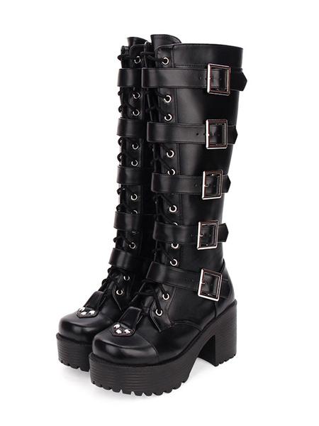Steampunk Lolita Boots PU Leather Round Toe Black Lolita Footwear