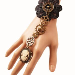 Steampunk Lolita Bracelet Lace Metal Details Bronze Lolita Accessories