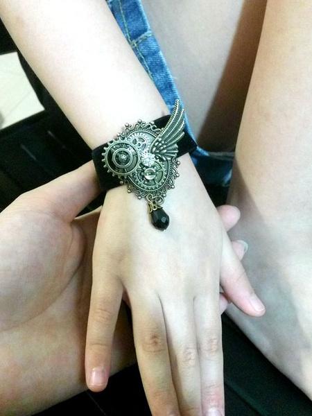 Steampunk Lolita Bracelet Metallic Embossed Bronze Lolita Accessory