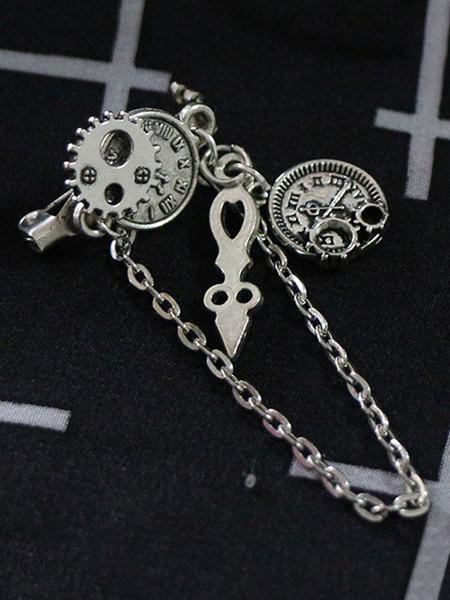 Steampunk Lolita Brooch Tiktok Metal Chain Silver Lolita Accessory