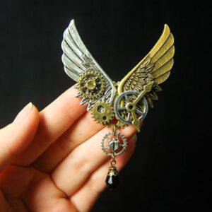 Steampunk Lolita Brooch Wings Metal Details Bronze Lolita Breastpin