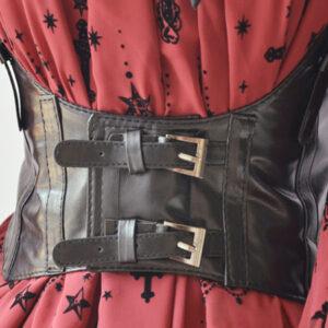 Steampunk Lolita Corset Belt Black Buckle PU Leather Wide Belt