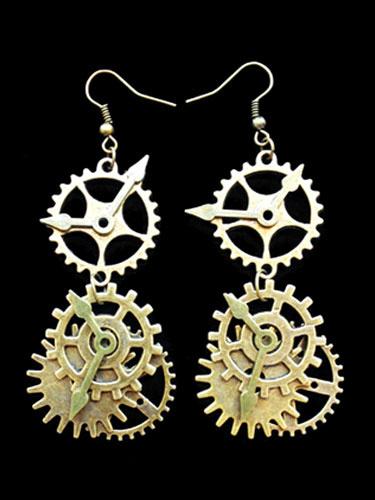 Steampunk Lolita Earrings Metal Details Gold Lolita Earrings