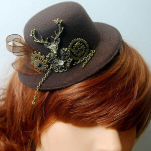 Steampunk Lolita Hair Accessory Metallic Animal Ribbon Dark Brown Lolita Tweed Hat