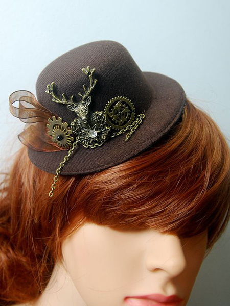 Steampunk Lolita Hair Accessory Metallic Animal Ribbon Dark Brown Lolita Tweed Hat