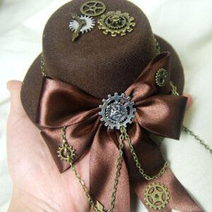 Steampunk Lolita Hat Burgundy Gears Bow Deco Vintage Oji Lolita Headpieces