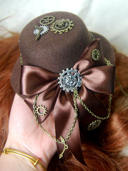 Steampunk Lolita Hat Tweed Satin Bow Metallic Chain Dark Brown Lolita Hair Accessory