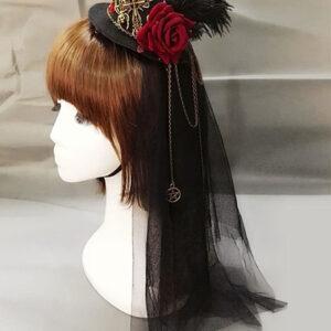 Steampunk Lolita Headdress Feather Floral Hat Metallic Pleated Tulle Black Lolita Veil