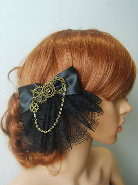 Steampunk Lolita Headdress Lace Trim Satin Bowknot Metallic Chain Black Lolita Hair Accessory