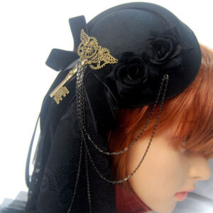 Steampunk Lolita Headdress Metallic Chain Bow Flower Black Lolita Hair Accessory