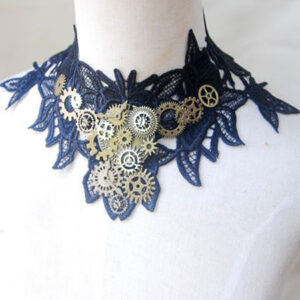 Steampunk Lolita Necklace Lace Metal Detail Two Tone Lolita Choker