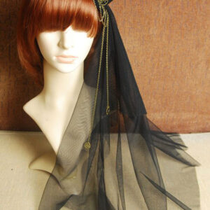 Steampunk Lolita Veil Tulle Hat Metal Detail Chain Black Lolita Headdress