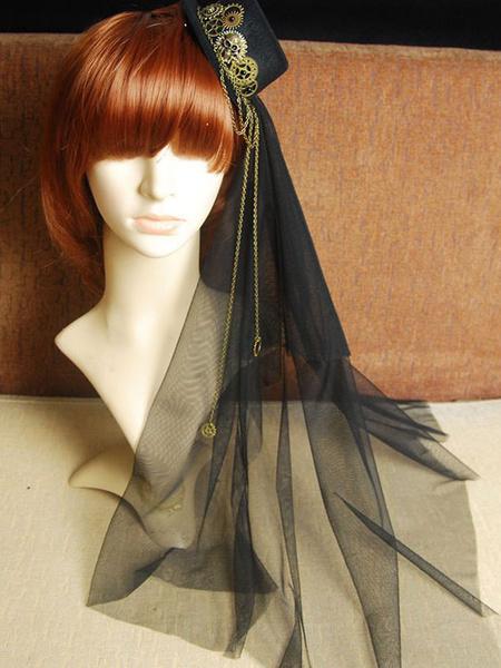 Steampunk Lolita Veil Tulle Hat Metal Detail Chain Black Lolita Headdress