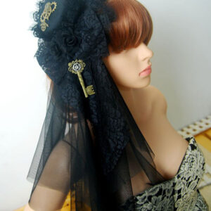 Steampunk Lolita Veil Tulle Lace Hat Metal Detail Ruffle Black Lolita Headdress