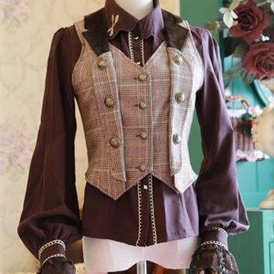 Steampunk Lolita Waistcoat Vintage Triple Breasted Brown Lolita Vest Jacket