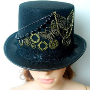 Steampunk Top Hat Black Vintage Chain Retro Costume Accessories
