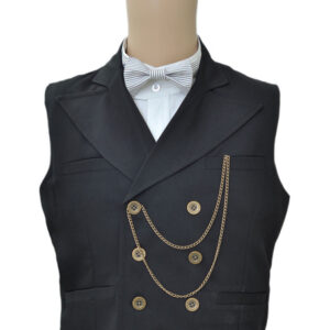 Steampunk Vintage Waistcoat Black Men's Double Breasted Suit Vest Pocket Watch Chain Back Strap Retro Costume Halloween