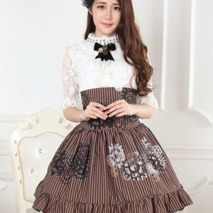 Sweet Lolita Skirt Black And White Gear Steampunk SK Lolita Skirt