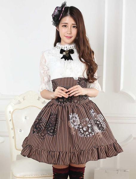 Sweet Lolita Skirt Black And White Gear Steampunk SK Lolita Skirt