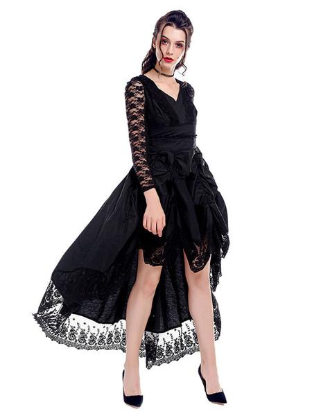 Victorian Dress Retro Costume Gothic Medieva Renaissance Lace V Neck Royal Women Black Gown Halloween