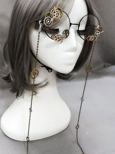 Vintage Lolita Glasses Steampunk Gear Chains Bronze Lolita Costume Accessories