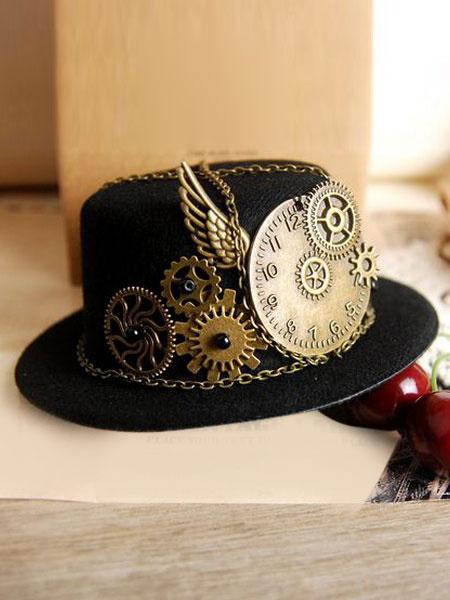 Vintage Lolita Hat Black Steampunk Wing Gear Chains Deco Retro Lolita Cap