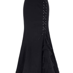 Vintage Mermaid Skirt Lace Up Layered Ruffles Gothic Maxi Skirt