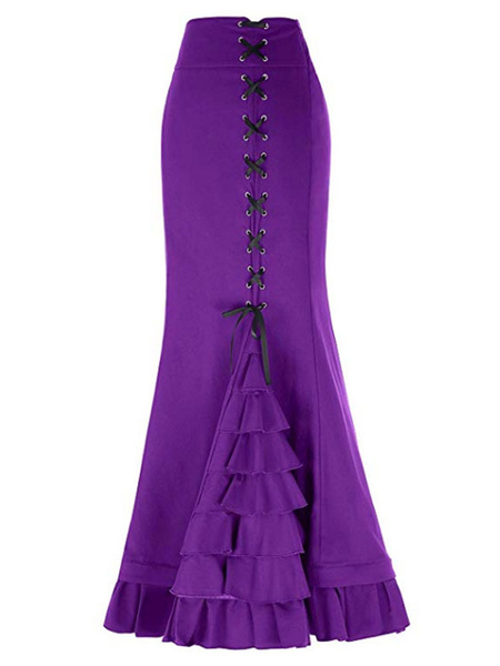 Vintage Mermaid Skirt Lace Up Layered Ruffles Gothic Maxi Skirt