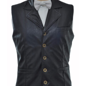 Vintage Steampunk Costume Waistcoat Black Men's Faux Leather Retro Suit Vest Halloween