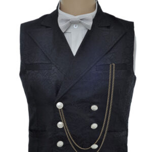 Vintage Steampunk Waistcoat Black Men's Double Breasted Pocket Watch Chain Back Strap Jacquard Retro Suit Vest Halloween